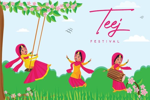 Banner-design des indischen festivals glückliche haryali teej-vorlage