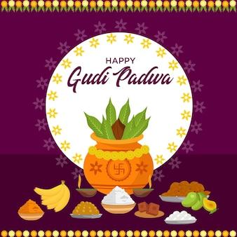 Banner design des indischen neujahrs gudi padwa festivals