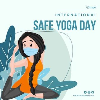 Banner-design des internationalen sicheren yoga-tages