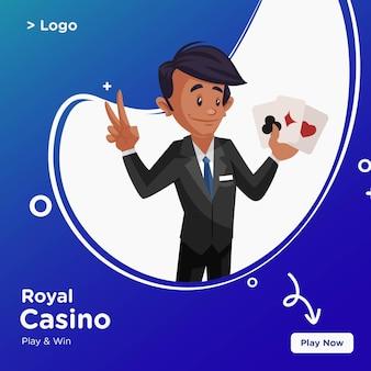 Banner-design des königlichen kasino-karikaturstils