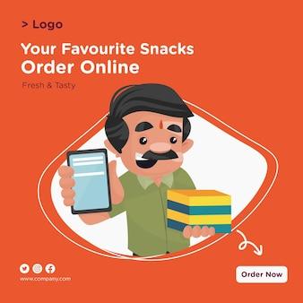 Banner-design des konditors, der mobile und süßigkeitenboxen in der hand hält