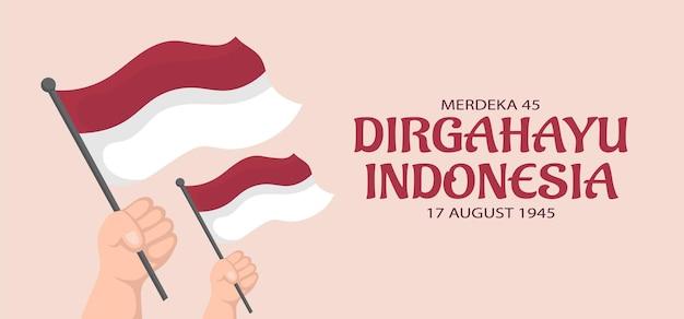 Banner-design für den unabhängigkeitstag indonesiens. vektorillustration