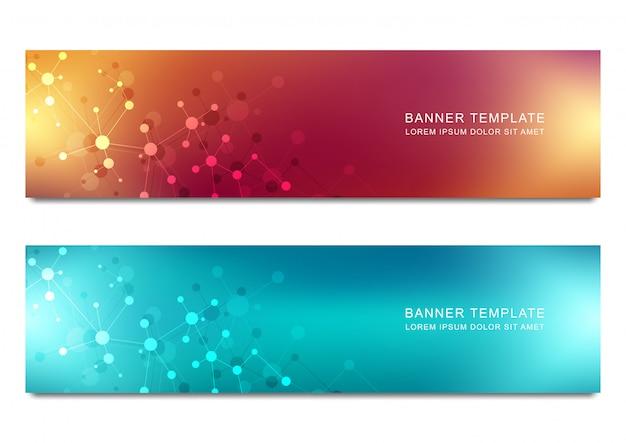 Banner-design für medizin, wissenschaft und digitaltechnik.