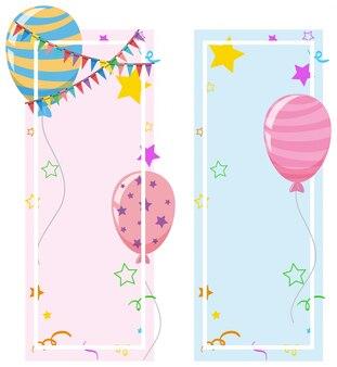 Banner-design mit ballons und sternen