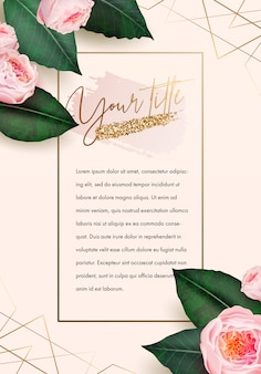 Banner design mit goldenen elementen, blumen und blättern Premium Vektoren
