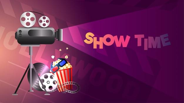 Banner-design mit illustration des kinos ausstatten