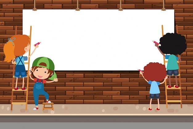 Banner-design mit kindern auf leiter