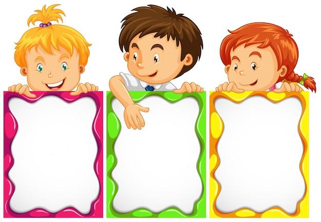 Banner-design mit niedlichen kindern