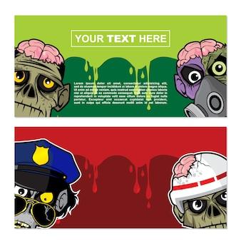 Banner-design mit zombie-thema