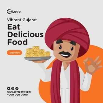 Banner-design von essen köstliche lebensmittelschablone essen