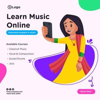 Banner-design von lernen musik online-cartoon-stil illustration