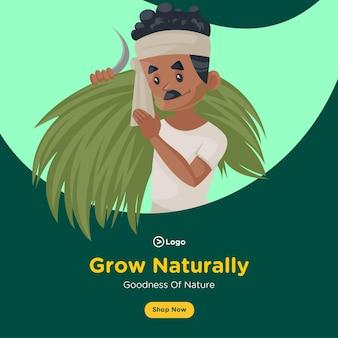 Banner design von natürlich wachsen und güte der natur vorlage