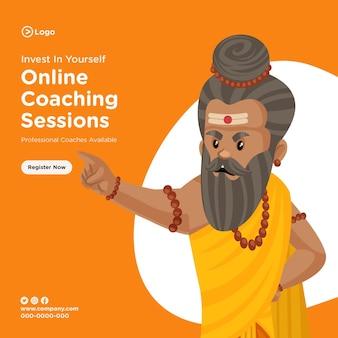 Banner-design von online-coaching-sitzungen