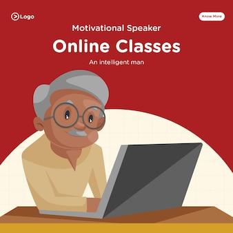 Banner-design von online-klassen mit intelligentem mann