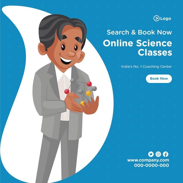 Banner-design von online-wissenschaftsklassen coaching-center-cartoon-stil-vorlage