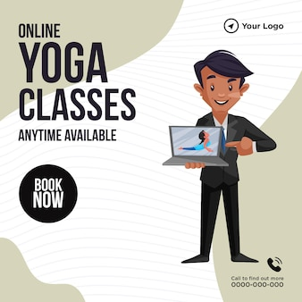 Banner-design von online-yoga-kursen jederzeit verfügbar