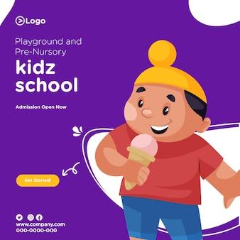 Banner design von spielplatz und vorschule kinderschule eintritt offen