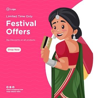 Banner-design von zeitlich begrenzten festivalangeboten