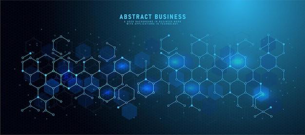 Banner-design-vorlage abstrakter hintergrund mit geometrischen formen und sechseckigen mustern. mit kleinen punkten vektorillustration für technologie- oder wissenschaftsdesign