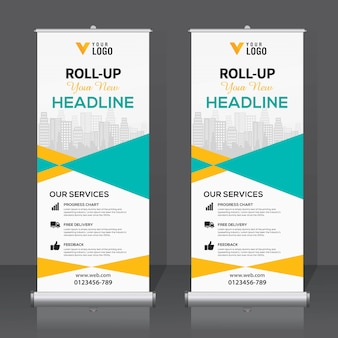 Banner-design-vorlage aufrollen