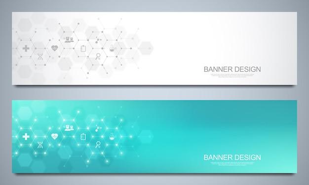 Banner-design-vorlage für das gesundheitswesen und die medizinische dekoration mit flachen symbolen und symbolen. wissenschafts-, medizin- und innovationstechnologiekonzept.