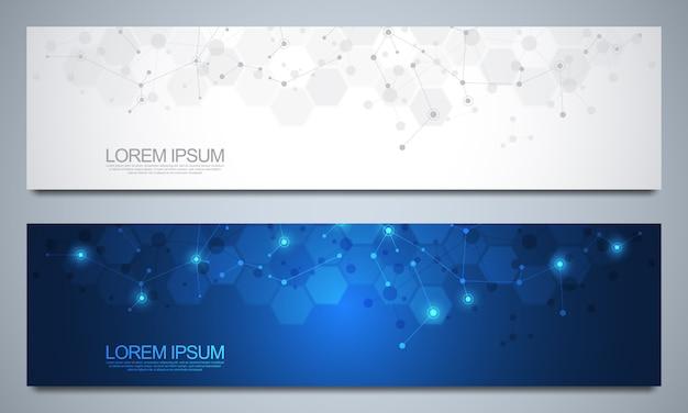Banner design vorlage mit molekularen strukturen und neuronalen netzwerk. abstrakte moleküle und gentechnischer hintergrund. wissenschafts- und innovationstechnologiekonzept.