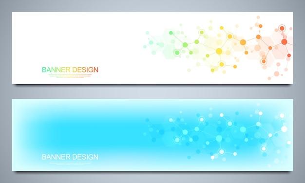 Banner design vorlage mit molekularen strukturen und neuronalen netzwerk