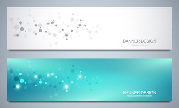 Banner design vorlage mit molekularen strukturen.