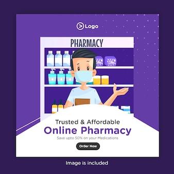 Banner design vorlage von vertrauenswürdigen und erschwinglichen online-apotheke sparen sie bis zu 50% auf ihre medikamente