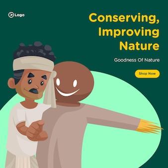 Banner-design zur erhaltung der verbesserung der natur