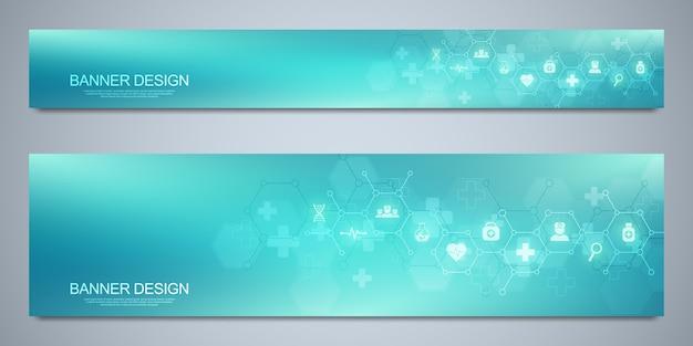 Banner designvorlage für gesundheitswesen und medizinische dekoration mit flachen symbolen und symbolen. konzept für wissenschaft, medizin und innovationstechnologie.
