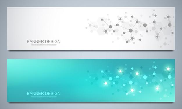 Banner-designvorlage mit molekularen strukturen und neuronalem netzwerk