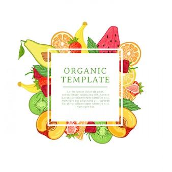 Banner designvorlage mit tropischer fruchtdekoration. quadratischer rahmen mit dem dekor gesunder, saftiger früchte. karte mit platz für text auf der natürlichen sommerlichen vegetarischen nahrung des hintergrunds. .
