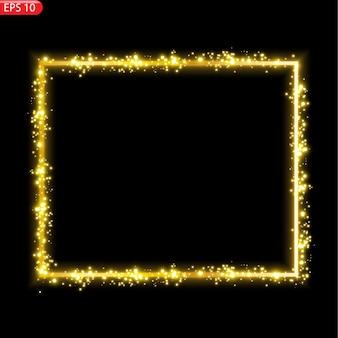 Banner ein festlich golden leuchtender rahmen, der mit goldstaub übersät ist