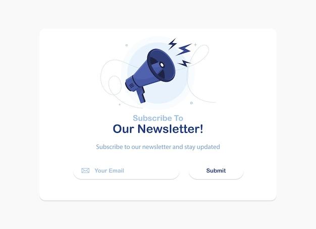 Banner eines e-mail-marketings für das abonnement des newsletters
