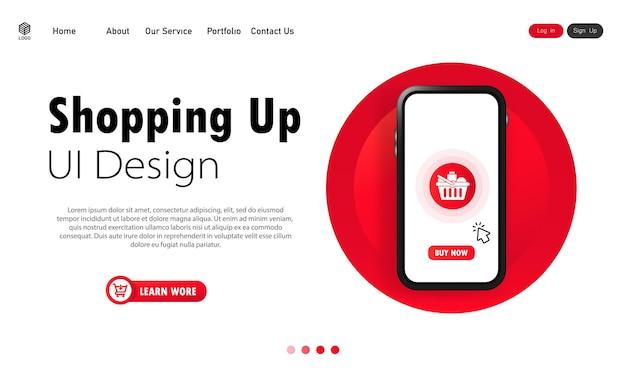 Banner einkaufen. online-shopping am telefon oder online-abholung im geschäft kaufen