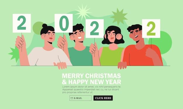Banner, flyer, landing page mit glücklichen menschen oder büroangestellten, mitarbeiter halten schilder mit nummern 2022. eine gruppe von freunden oder ein team wünscht den kunden frohe weihnachten und ein glückliches neues jahr. feiertagsgruß.