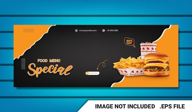 Banner food-menü burger facebook-cover-vorlage mit texteffekt editierbar