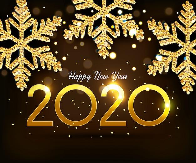 Banner frohes neues jahr 2020 mit schneeflocken