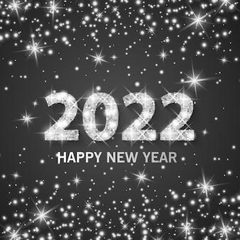 Banner frohes neues jahr 2022 mit silberstaub, glänzender glitzereffekt, vektorformat