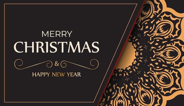 Banner frohes neues jahr und frohe weihnachten in schwarz mit orangefarbenen ornamenten.