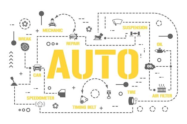 Banner für autowortkonzepte. kfz-reparaturwerkstatt, fahrzeugteile. infografiken zum autoservice. präsentation, webseite. ui-ux-idee. isolierte schrifttypografie mit glyphensymbolen. flache vektorgrafik.