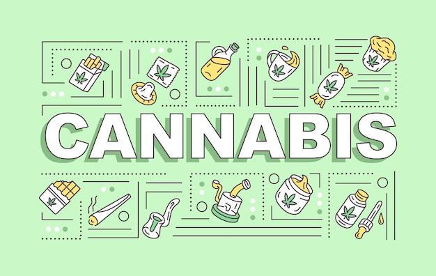 Banner für cannabis-wortkonzepte. marihuana verwendet methoden und zwecke. naturhanfprodukte infografiken mit linearen symbolen auf grünem hintergrund. isolierte typografie. vektorumriss rgb-farbabbildung