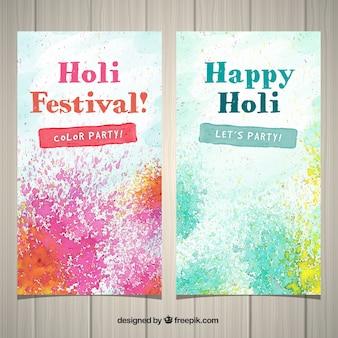 Banner für das holi-festival mit farbspritzer