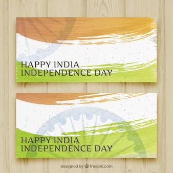 Banner für den tag der unabhängigkeit von indien mit fahne