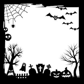 Banner für den urlaub. fröhliche halloween-party. süßes oder saures. muster mit einer textur in einem einfachen grunge-rahmen mit einem spinnennetz. vektorillustration in schwarzweiss.