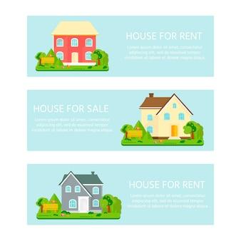 Banner für den verkauf, werbehaus, hütte mit bäumen. angebot zum hauskauf. vermietung von immobilien.