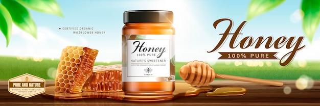 Banner für die hautpflege mit natürlichem honig