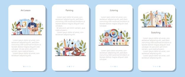 Banner für die mobile anwendung der kunstschulbildung. schüler, der kunstwerkzeuge hält, die lernen, wie man zeichnet und bastelt. mal-, zeichen- und farbkurse. isolierte flache vektorillustration