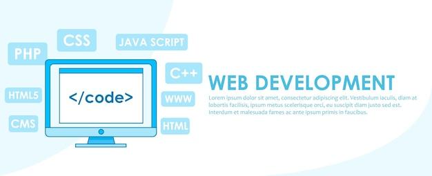 Banner für die webentwicklung. computer mit fenster ein computer mit einem browserfenster.